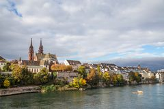 Rhine river and Basel Minster. October 20, 2016 - Basel, Switzerland: View of the historic city with the Minster and the Rhine river Stock Image