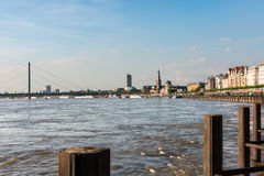 Rhine river and Düsseldorf riverside Royalty Free Stock Photography