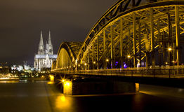 Rhine River and Dom of Cologne Stock Photo