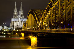 Rhine River and Dom of Cologne Royalty Free Stock Photo