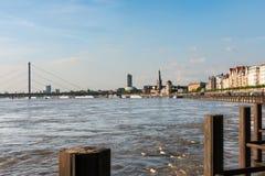 Rhine river and Düsseldorf riverside Royalty Free Stock Photography