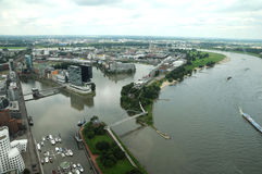 Rhine river in Dusseldorf royalty free stock images