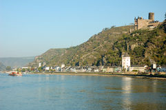 Rhine River, Germany. View on the Rhine River with an ancient Castle Ruine, Germany royalty free stock photos