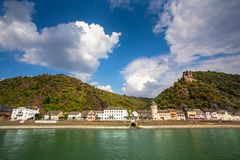 Rhine River in Germany with the Village of Sankt Goar in view stock image