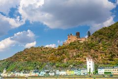 Rhine River in Germany with the Village of Sankt Goar in view royalty free stock images