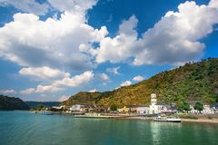 Rhine River in Germany with the Village of Sankt Goar in view stock photos