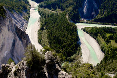 Rhine river gorge in Swiss Alps, Switzerland. Stock Photography