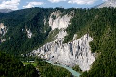Rhine river gorge in Swiss Alps, Switzerland. Stock Photo