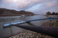 Rhine river at historic andernach city in germany Royalty Free Stock Images