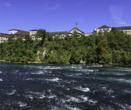 The Rhine river just above the Rhine Falls in Switzerland Stock Photography