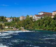 The Rhine river just above the Rhine Falls in Switzerland Stock Photos