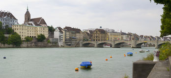 Rhine river and Mittlere brucke bridge, Basel Royalty Free Stock Photography