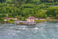 Rhine River at Rhine Falls and Castle Woerth, Schaffhausen. Swit Royalty Free Stock Images