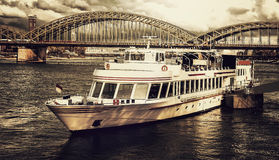 Rhine river ship in Cologne Stock Images
