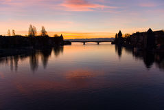 Rhine river sunset Germany Stock Photography