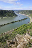 Rhine River, view from St Goarshausen Stock Photo