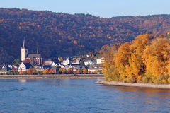 Rhine River Village. Horizontal view of small German village around bend in Rhine River Royalty Free Stock Photography