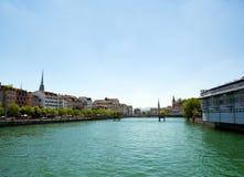 Rhine River Zurich, Schweiz royaltyfria bilder