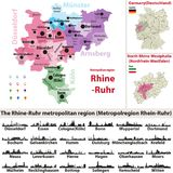 The Rhine-Ruhr metropolitan region vector map with largest cities skylines silhouettes. The Rhine-Ruhr metropolitan region vector map with largest cities Stock Image