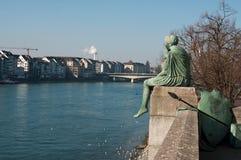 Rhine rzeka w Basel w Switzerland Obrazy Stock