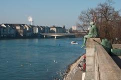 Rhine rzeka w Basel w Switzerland Zdjęcia Stock