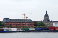 Rhine shipping at Mainz Stock Photography