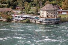 Rhine Spada - wielka siklawa w Europa, Schaffhausen, Szwajcaria Zdjęcia Stock