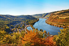 Rhine valley. At Cochem town, Germany stock photo
