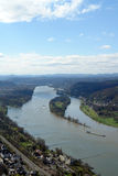 Rhine valley. The Rhine valley with a village and a container ship on the Rhine Royalty Free Stock Images