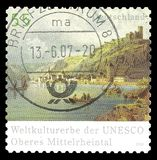 Rhine Valley. Germany - stamp 2006: Color edition on UNESCO World Heritage, shows Rhine Valley Stock Photography
