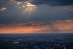 Rhine valley near Freiburg at sunset Royalty Free Stock Photos