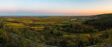 Rhine Valley. Panoramic view on the Rhine Valley as seen from Battenberg Pfalz in the Palatinate Forest in Germany royalty free stock images