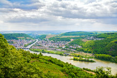 Rhine valley under clouded sky. Majestic view stock photography