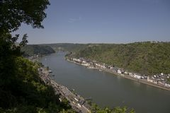 The Rhine valley. A view over the Magnificent Rhine valley royalty free stock photography