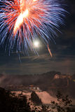 Rhine Water on the Firework night Stock Images