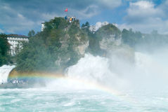 The Rhine waterfalls at Neuhausen on Switzerland Stock Photos
