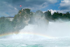 The Rhine waterfalls at Neuhausen on Switzerland Stock Images