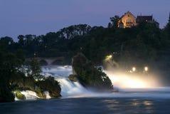 The Rhine waterfalls at Neuhausen on Switzerland. By night Stock Images