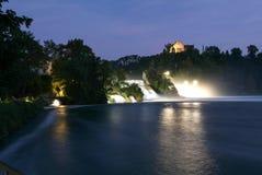 The Rhine waterfalls at Neuhausen on Switzerland. By night Royalty Free Stock Photos