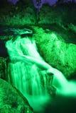 Rhinefall był iluminującym zielenią Obrazy Stock