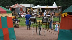 Retro festival event of europe in Domgarten garden at Speyer town in Germany stock footage
