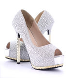 Rhinestone High Heel Stiletto Shoes. Stock Photography