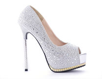 Rhinestone High Heel Stiletto Shoes. Royalty Free Stock Images