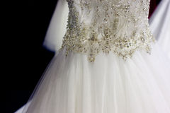 Rhinestones on bridal gown Stock Photos
