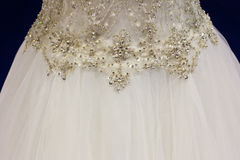 Rhinestones on bridal gown Royalty Free Stock Image