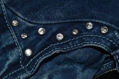 Rhinestones on jeans Stock Photo