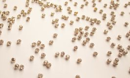 Rhinestones on a white background. Abstract background with white rhinestones. The concept of style and beauty. flat lay, top view.  stock illustration