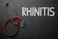 Rhinitis escrito à mão no quadro ilustração 3D Fotografia de Stock