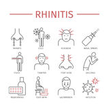 rhinitis Symptome, Behandlung Linie Ikonen eingestellt lizenzfreie abbildung