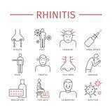rhinitis Symptomen, Behandeling Geplaatste lijnpictogrammen Stock Foto